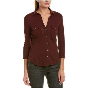 James Perse Contrast Panel Button Front Shirt